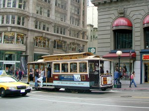 Cable car in San Francisco's Union Square